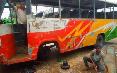 不適合バスの修理