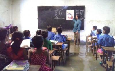 教室は水浸し