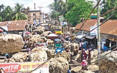 道路上のジュート市場