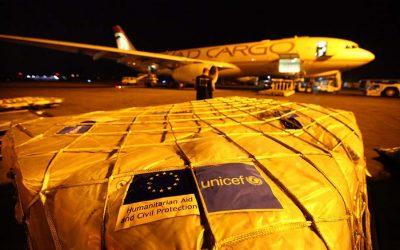 ユニセフの救援物資が到着