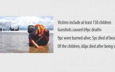 1か月でロヒンギャ6,700人が殺害される