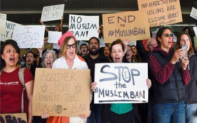 イスラム教徒の旅行禁止に反対する人々