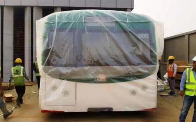展示用MRT車両模型設置