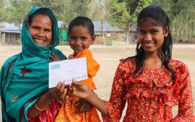 12,726人の恵まれない家族のための現金援助